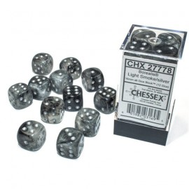 Borealis™ 16mm d6 Light Smoke/Silver Luminary Dice Block (12 Dice) ACC NEW