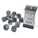Borealis™ 16mm d6 Light Smoke/Silver Luminary Dice Block (12 Dice) ACC NEW