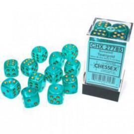 Borealis™ 16mm d6 Teal/Gold Luminary Dice Block (12 Dice) ACC NEW