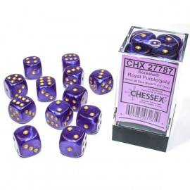Borealis™ 16mm d6 Royal Purple/Gold Luminary Dice Block (12 Dice)