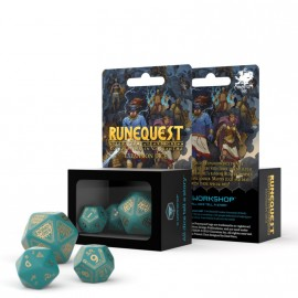 RuneQuest Turquoise & gold Expansion Dice (3)