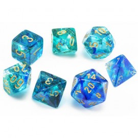 Nebula® Polyhedral Oceanic/gold Luminary 7-Die Set