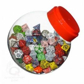 Jar of dice with D4, D6 , D8, D10,D12, D20, D00 (150)