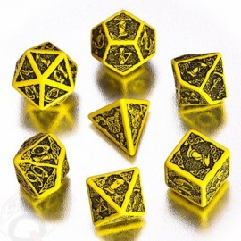 Yellow & Black Celtic 3D Dice set (7)