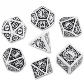 Clockwork White & Black Steampunk Dice Set (7)