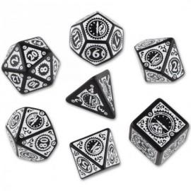 Clockwork Black & White Steampunk Dice Set (7)