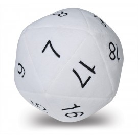 Jumbo D20 Dice Plush in White with Black Numbering