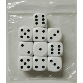 D6 Bag Spot White 22mm Dice (10)