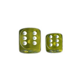 Translucent 12mm d6 with pips Dice Blocks™-Yellow w/white (36 Dice)