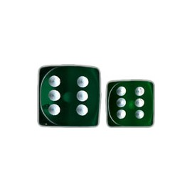 Translucent 12mm d6 with pips Dice Blocks™- Green w/white (36 Dice)