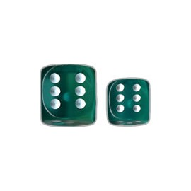 Translucent 12mm d6 with pips Dice Blocks™- Teal w/white (36 Dice)