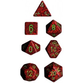 Speckled Polyhedral d10 Sets (10) - Strawberry
