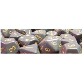 Opaque Polyhedral d10 Sets (10) - Dark Grey/copper