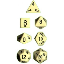 Opaque Polyhedral 7-Die Sets - Ivory w/black