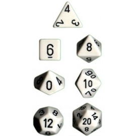 Opaque Polyhedral 7-Die Sets - White w/black