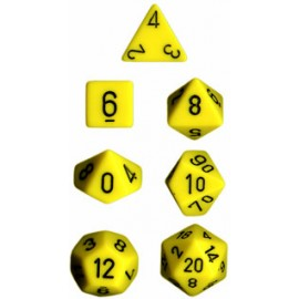 Opaque Polyhedral 7-Die Sets - Yellow w/black