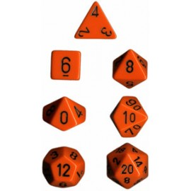 Opaque Polyhedral 7-Die Sets - Orange w/black