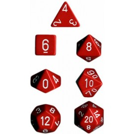 Opaque Polyhedral 7-Die Sets - Red w/white