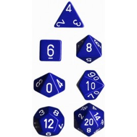 Opaque Polyhedral 7-Die Sets - Blue w/white