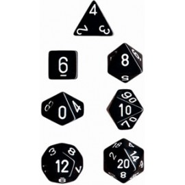 Opaque Polyhedral 7-Die Sets - Black w/white