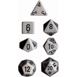 Opaque Polyhedral 7-Die Sets - Grey w/black