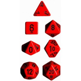 Opaque Polyhedral 7-Die Sets - Red w/black