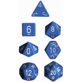 Opaque Polyhedral 7-Die Sets - Light Blue w/white