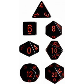Opaque Polyhedral 7-Die Sets - Black w/red