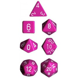 Opaque Polyhedral 7-Die Sets - Light Purple w/white