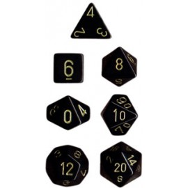 Opaque Polyhedral 7-Die Sets - Black w/gold