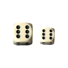 Opaque 12mm d6 with pips Dice Blocks (36 Dice) - Ivory w/black