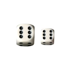 Opaque 12mm d6 with pips Dice Blocks (36 Dice) - White w/black