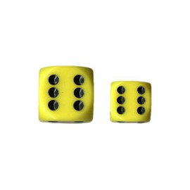 Opaque 12mm d6 with pips Dice Blocks (36 Dice) - Yellow w/black