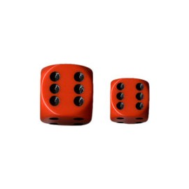 Opaque 12mm d6 with pips Dice Blocks (36 Dice) - Orange w/black
