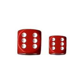 Opaque 12mm d6 with pips Dice Blocks (36 Dice) - Red w/white