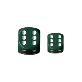 Opaque 12mm d6 with pips Dice Blocks (36 Dice) - Green w/white