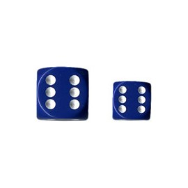 Opaque 12mm d6 with pips Dice Blocks (36 Dice) - Blue w/white