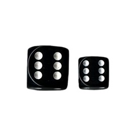 Opaque 12mm d6 with pips Dice Blocks (36 Dice) - Black/White
