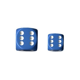 Opaque 12mm d6 with pips Dice Blocks (36 Dice) - Light Blue w/white