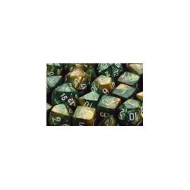 Gemini Polyhedral 7-Die Sets - Gold-Green w/white