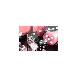 Gemini Polyhedral 7-Die Sets - Black-Pink w/white