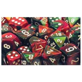 Gemini Polyhedral 7-Die Sets - Green-Red w/white