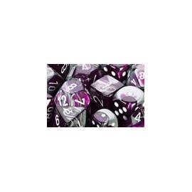Gemini Polyhedral 7-Die Sets - Purple-Steel w/white