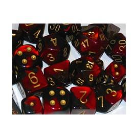 Gemini Polyhedral 7-Die Sets - Black-Red w/gold