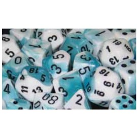 Gemini Polyhedral 7-Die Sets - White-Teal w/black