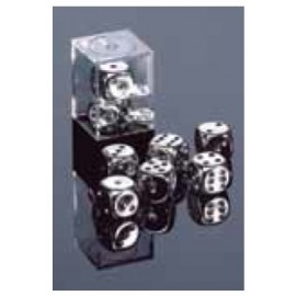 Silver-Plated Metallic 16mm d6 with pips Pair (2)