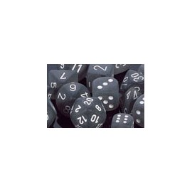 Polyhedral 7-Die Sets - Frosted Polyhedral Smoke/white