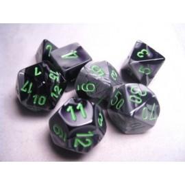 Gemini Polyhedral 7-Die Sets - Black-Grey w/green