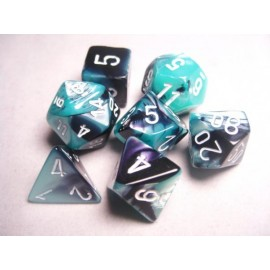 Gemini Polyhedral 7-Die Sets - Black-Shell w/white
