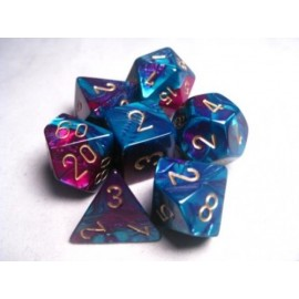 Gemini Polyhedral 7-Die Sets - Purple-Teal w/gold